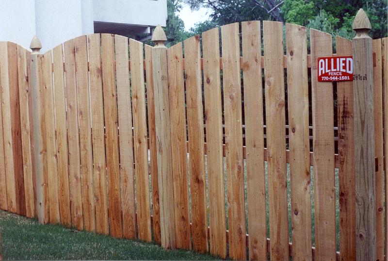 Standard cedar fence designs allied fence scalloped semi private cedar fence workwithnaturefo