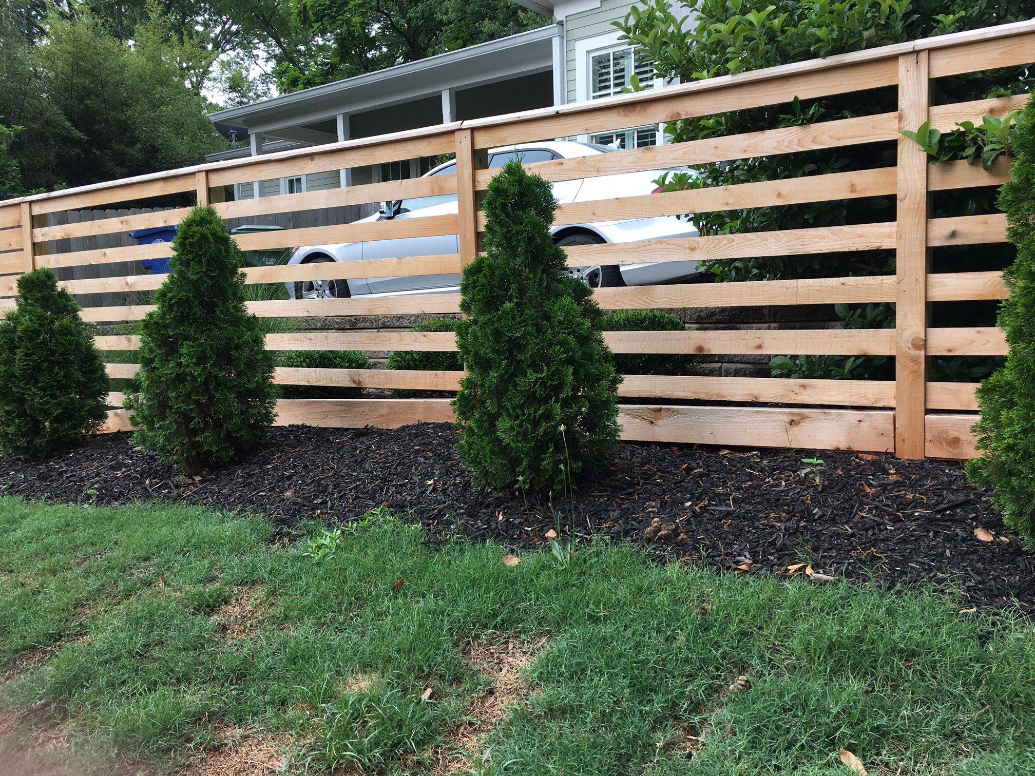 Custom Horizontal Cedar Fencing For Ormewood Park Home