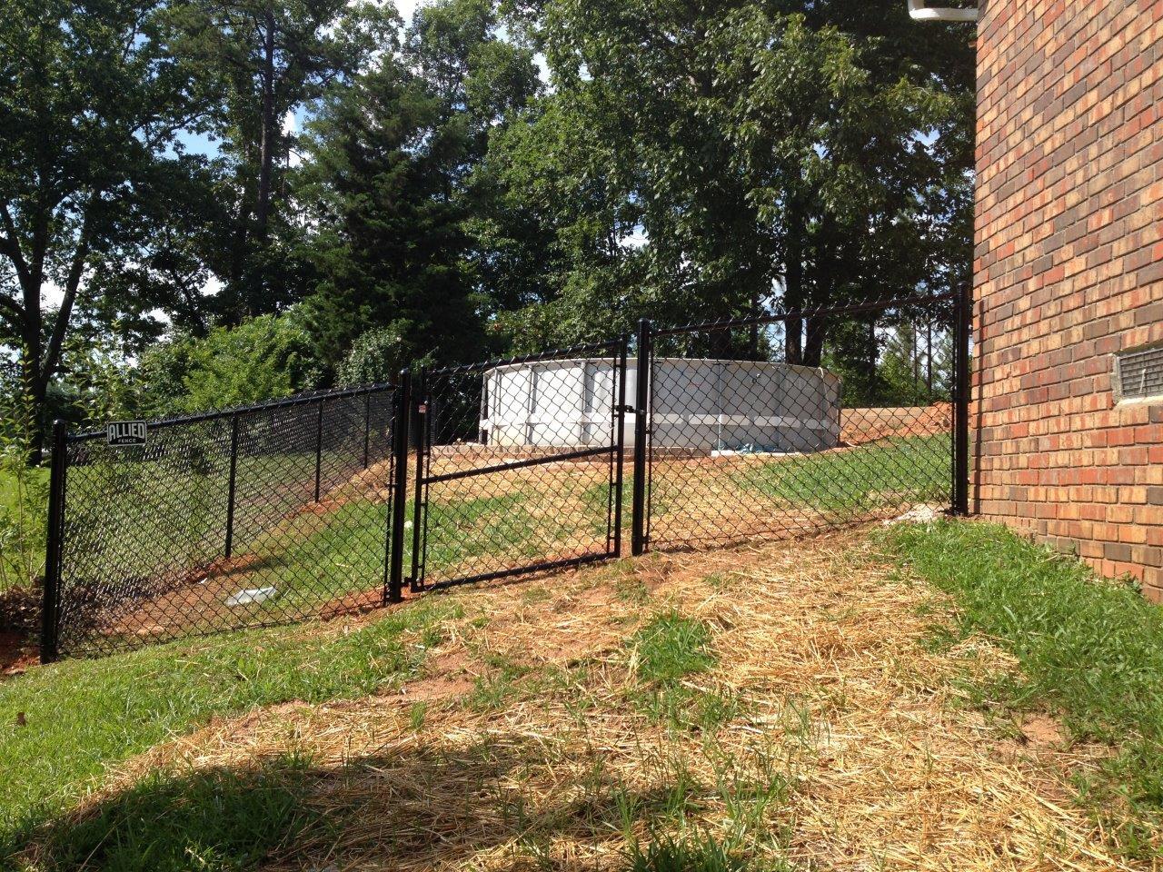 graded black vinyl chain link gate
