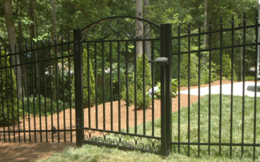 Allience Aluminum Fencing - Arora with Royal Finials and Scroll Gate